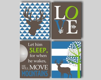 Woodland Nursery Bedding Decor Deer Nursery Art Baby Boy Deer Nursery Art Boys Room Deer Nursery Art Let Him Sleep Choose Colors WD4403