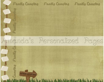 2 Page- 12x12 Personalized Scrapbook  Paper (Family Camping)
