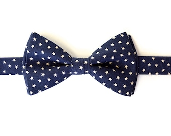 BOW TIE-MEN,Navy blue and ivory stars bowtie for men, Self tie mens bow ties, bowties for men, bow ties for kids, bowties for boys