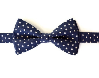 Stars BOW TIE-MEN,Navy blue and ivory stars bowtie for men, Self tie mens bow ties, bowties for men, bow ties for kids, bowties for boys