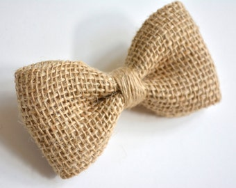 Burlap bow tie for kids, burlap bow tie, hessian kids bow tie