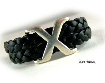 braided leather wrap bracelet for men black silver stainless steel - nappa braided men's bracelet - nearly black - for him