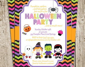 Kids Halloween Party Invitation - Choose Your Characters! -by Celebration Lane