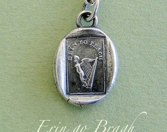 Erin go bragh, Ireland Forever, Angel with a harp for wings....... wax seal stamp jewelry, Sterling silver, shamrock