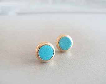 Turquoise Gold Stud Earrings - Hypoallergenic Surgical Steel Posts
