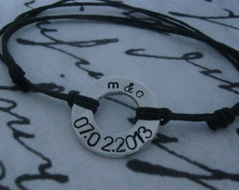 Mens Washer Bracelet, Washer Bracelet, Anniversary Gifts for Men, Personalized, Couple, Initial Bracelet, Boyfriend Girlfriend  Bracelet