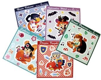 Cute Anime Girl Sticker Set - 5 sheets