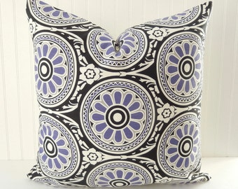 purple pillow cover pillow purple black throw pillow floral pillow accent toss pillow