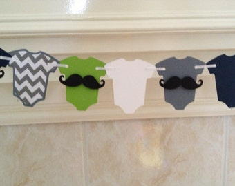 Little Man Baby Shower Decor, Mustache Bash, Little Man Garland, Mustache Baby, Mustache Garland, Green and Navy One-Pieces, Little Man Baby