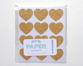 Mini Glitter Heart Sticker - Gold - Set of 36