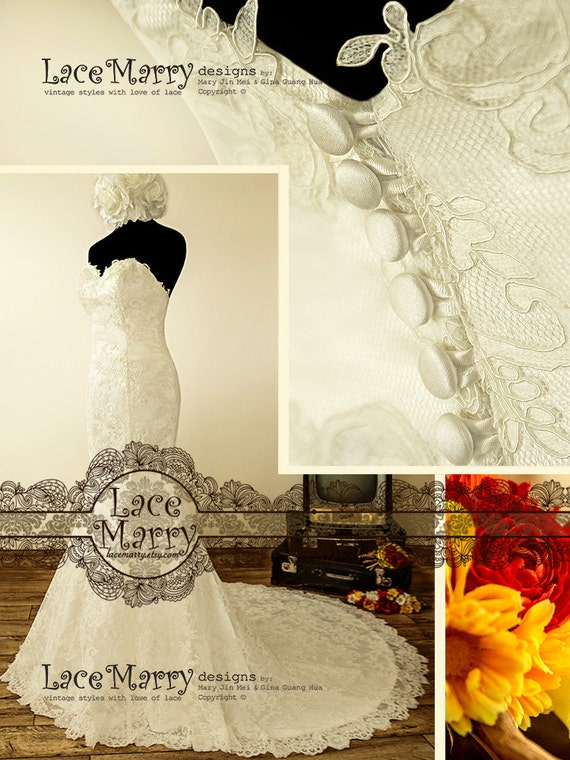 vintage lace sweetheart wedding dress