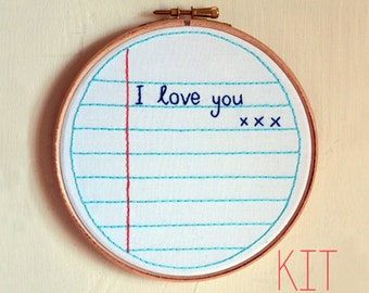 "Embroidery Kit ""I love you"""