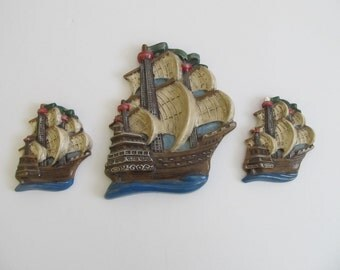 Ship Chalkware, Chalkware, Chalkware Ships, Chalkware Boats, Boats, Ships, Nautical, Nautical Chalkware, Sailboats, Chalkware Sailboats