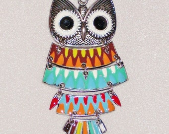 Large Articulated Owl Pendant ~ Enameled Jewelry