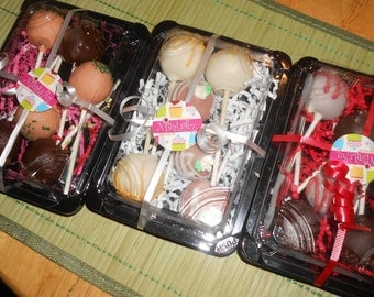 1/2 dozen boxed sampler cake pops, assorted flavors, 15 flavors to choose from