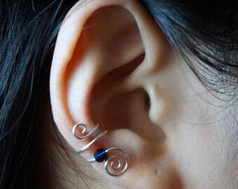 86)Silver Swirl Swarovski bead Ear Cuff