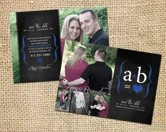 Chalk Board Themed Save the Date - Double Sided  (25 QTY with Envelopes)