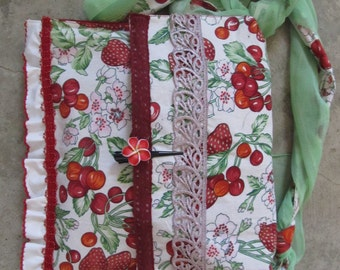 Hip Bag Purse Strawberries Red & Green