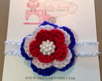 Red, White and Blue Crochet Headband Patriotic/July 4th/Baseball
