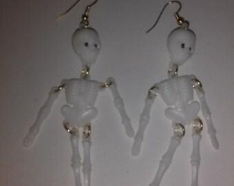handmade skeleton holloween earrings
