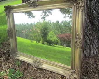 Shabby chic mirror,very large mirror, ornate mirror,antique gold mirror, mirror, shabby chic decor,wedding. Rococo style mirror,