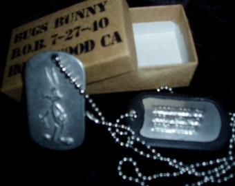 Bugs Bunny Birth Necklace Cartoon Dogtags Military Style Identifiction with Box