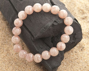 stretch beaded bracelet natural muscovite 10mm |elastic beaded semi precious stone