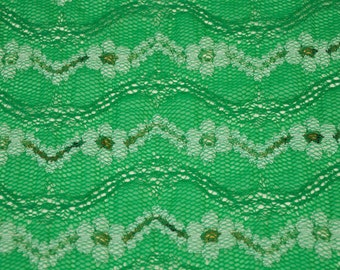 d50ca5ef5a4dcb Kelly Green Flower Daze Lace Fabric by the Yard Stretch Chevron Lace Fabric  by the yard Dresses Wedding Bridal - 1 Yard Style 6041