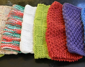 Hand knit dishcloths - You choose colors