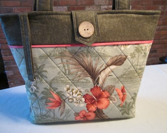 Tropical Quilted Tote Bag