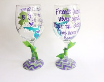 SET OF 2 State to State Country Wine Glass Cup Chevron Personalized Best Friend Long Distance