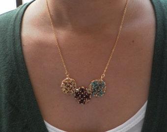 Green Emerald Eggplant  Ethnic Statement Necklace Beadweaving handmade Bib Necklace, Ethnic OOAK Necklace, Beadwork Necklace jewelry
