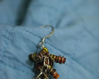 Brown Resistor Cluster Earrings