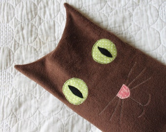 Hot water bottle cover - sleepy brown cat