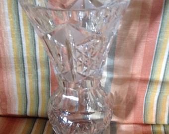 "Vintage Tall Cut Glass Vase  10"""