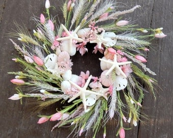 "Beach Wreath ""Paradise""w/ Starfish,Sand Dollars,Sea Urchins-Nautical Decor, Seashore Wreath, Starfish Wreath, Front Door Wreath,Size Choice"