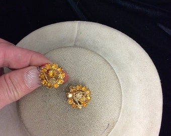 Vintage Golden Yellow Rhinestone Earrings