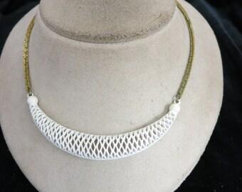 Vintage White Enameled Pendant Necklace