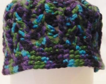 Women's Crochet Teal, Green, and Purple Varigated Beanie