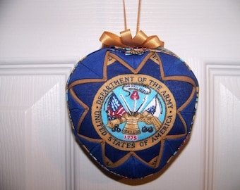U.S. Army Emblem Heart Shape Quilted Ornament/Military Quilted Ornament