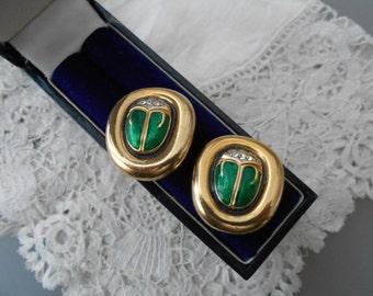 Enamel scarab earrings clip ons