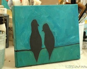 Love Birds - Birds on a Wire - Original Acrylic Painting - Urban, Modern, Contemporary, Whimsical