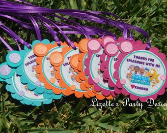 Bubble Guppies Thank you tags, with Ribbon 12 ct.