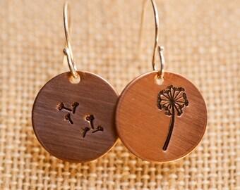 Dandelion Copper Earrings, Copper Pendant Earrings, Dandelion Earrings, Circle Pendant Earrings, Hand Stamped Earrings, Spring Earrings