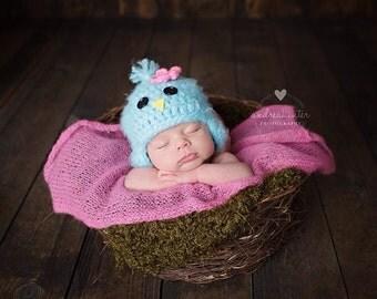 Newborn bird hat - photography prop - blue bird - birdie hat - crochet baby hat