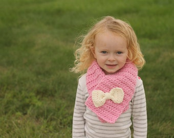 Bow scarf - toddler bow scarf - kids scarf - child scarf - cowl - crochet - chunky scarf