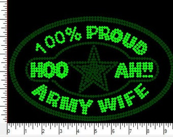 100% Army Rhinestone Iron On Transfer  0XNH