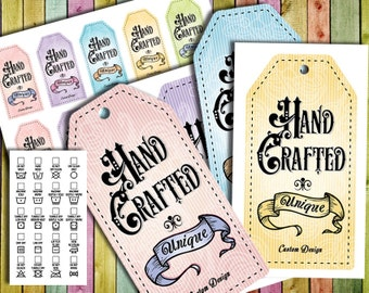 "Vintage Victorian Style Laundry Care Tags – 5 Colors- 300 DPI – 2 x 3-1/2"" – Vector PDF and PNGs – DIY Printables"