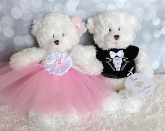 Personalized Flower Girl and Ring Bearer Teddy Bears in Custom Colors, Wedding Keepsake