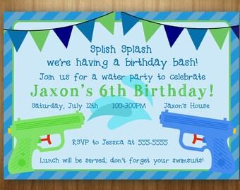 Water Gun Birthday PRINTABLE Invitation Squirt Gun Water Fun Water Bash Summer Boy Green Blue